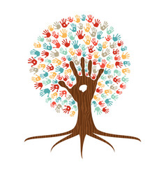 Hand print art tree for community help vector