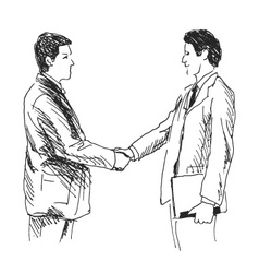 Hand sketch two businessmen vector