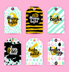 happy easter trendy gift labels vector image vector image
