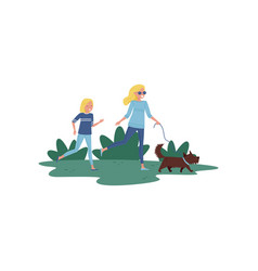 happy mother and her little daughter running with vector image
