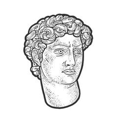 head david statue sketch vector image