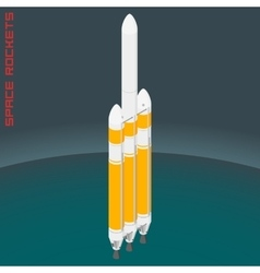Isometric american space heavy rocket vector image