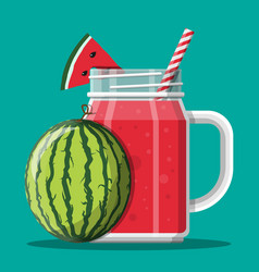 jar with watermelon smoothie with striped straw vector image