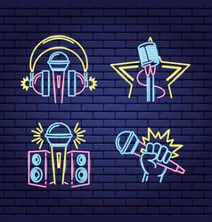 Karaoke neon style vector