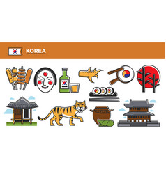 korea travel destination advertisement with vector image