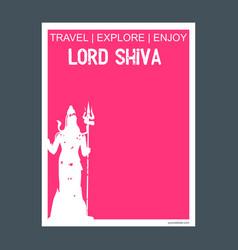 Lord shiva india monument landmark brochure flat vector