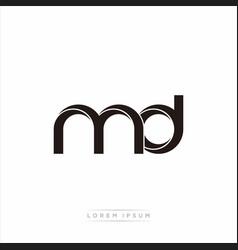 Md initial letter split lowercase modern monogram vector