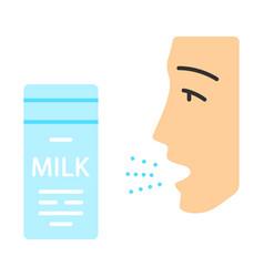 Milk allergy flat design long shadow color icon vector