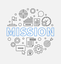 mission round concept outline business vector image