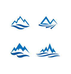 mountain and water logo icon design template vector image