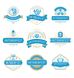 Oktoberfest celebration beer festival labels vector