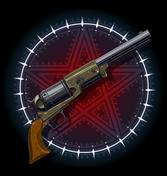 Old revolver with red pentagram star vector