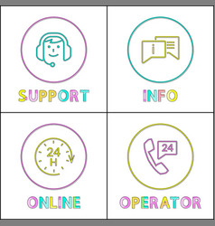 online customer support icon set in sketch style vector image