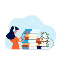 online library audio books girl in headphones vector image