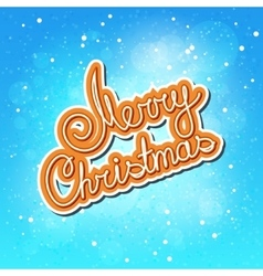 Orange Text Merry Christmas on Winter Background vector image