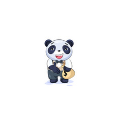 Panda in business suit extend hand to offer a deal vector