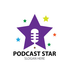 Podcast star logo designs for child vector
