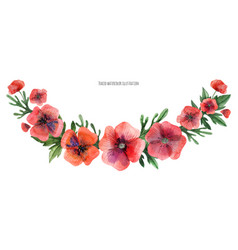 Red poppy gala garland vector