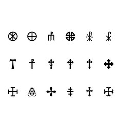 Religious cross black color set solid style image vector