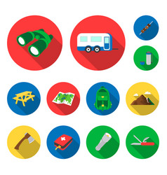 rest in the camping flat icons in set collection vector image