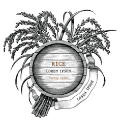 Rice concept logo hand draw vintage engraving vector
