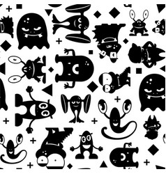 seamless black and white pattern with monsters vector image