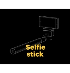 Selfie stick thin line icon vector image
