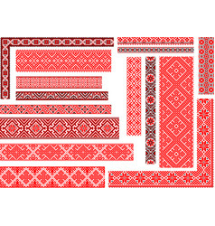 set 15 seamless ethnic patterns for embroidery vector image