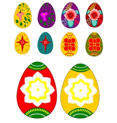 Set of Easter eggs with ornamental painting vector image vector image