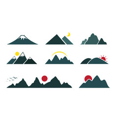 Set of mountain on white background easy editable vector