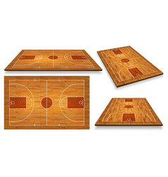 Set perspective basketball court floor with line vector