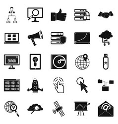 Shadow internet icons set simple style vector
