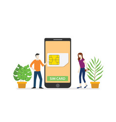 sim card or simcard mobile technology network vector image