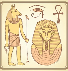 Sketch Egyptian set in vintage style vector image