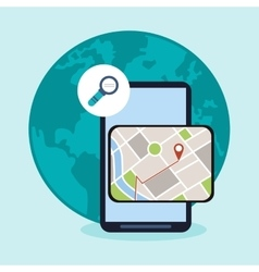 Smartphone and gps map design vector