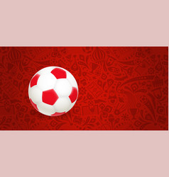 Soccer ball on red abstract background vector