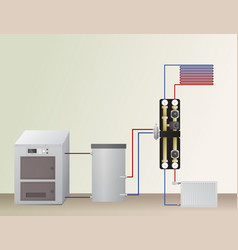 Solid fuel boiler in the heating system vector