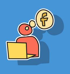 Sticker unusual look facebook logotype social vector