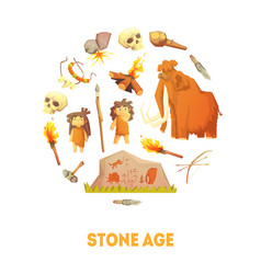 Stone age banner template prehistoric cave people vector