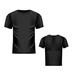 T-shirt black template front and back view vector