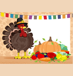 thanksgiving day with turkey and harvest vector image