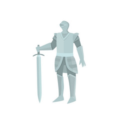 the figure of the calm knight in gray armor with vector image