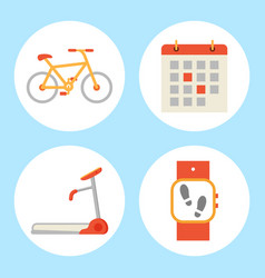 treadmill and bicycle set vector image