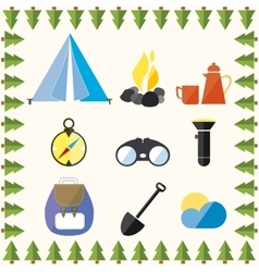 Tree Wild Camp Rest Equipment Vacation Mountain vector image