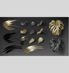tropical black and gold monstera leaves vector image
