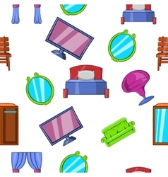 Type of furniture pattern cartoon style vector