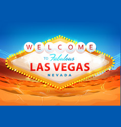 Welcome to las vegas sign on desert background vector