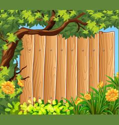 wooden board in the garden vector image