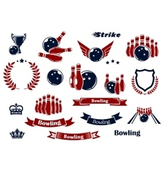 Bowling sport items and design elements vector