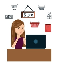 cartoon woman e-commerce laptop desk isolated vector image